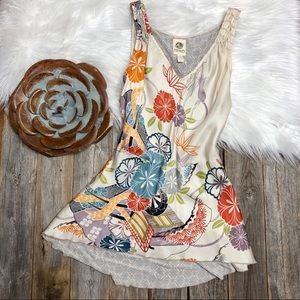 Anthropologie Tank Top Floral 100% Silk P TINY